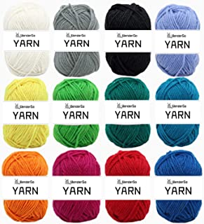 12X 50g Double Knitting Yarn 100% Acrylic Knitting Yarn Colourful DK Yarn with Crochet Hook & Stitch Markers - Perfect for...