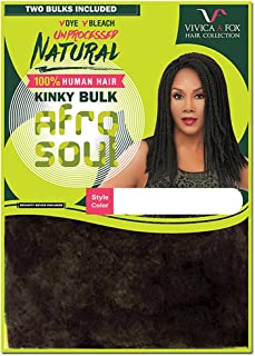 VVICA A FOX Unprocessed 100% Natural Human Hair Afro Kinky Curl Kinky Bulk Braid - HKBK16-N