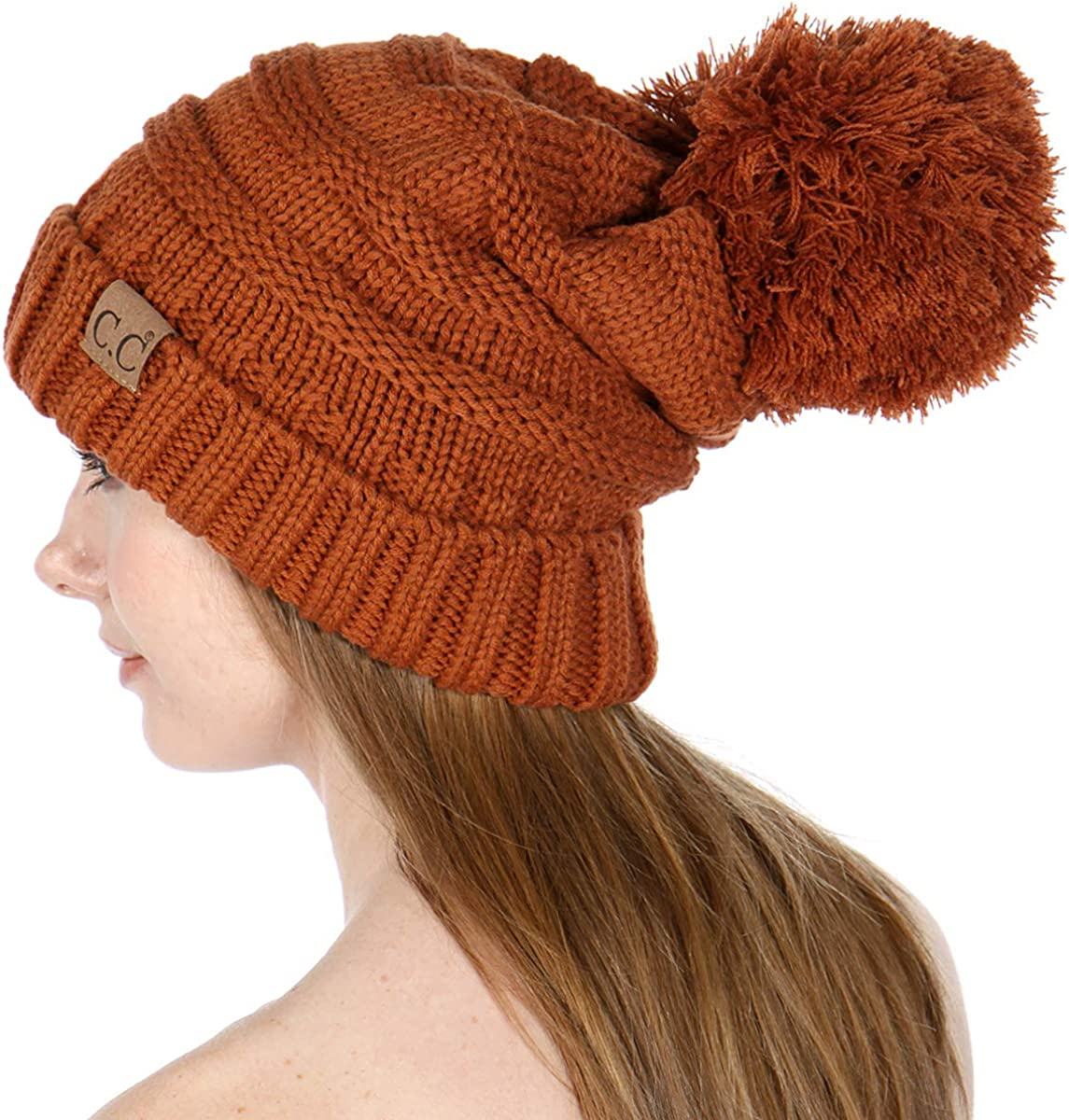 CC Beanie for Women Fur Soft Pom Hat New item hat Elegant