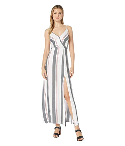 American Rose Skylar Spaghetti Strap Striped Maxi Dress (Off-White) Women