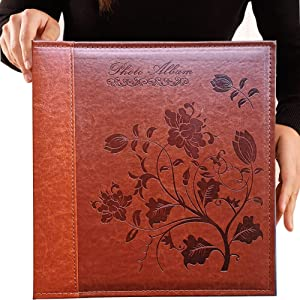 Totocan 4x6 Photo Album 600 Pockets, Extra Large Capacity Picture Album with Vintage Leather Cover, Family, Baby, Wedding Album (Red Brown)