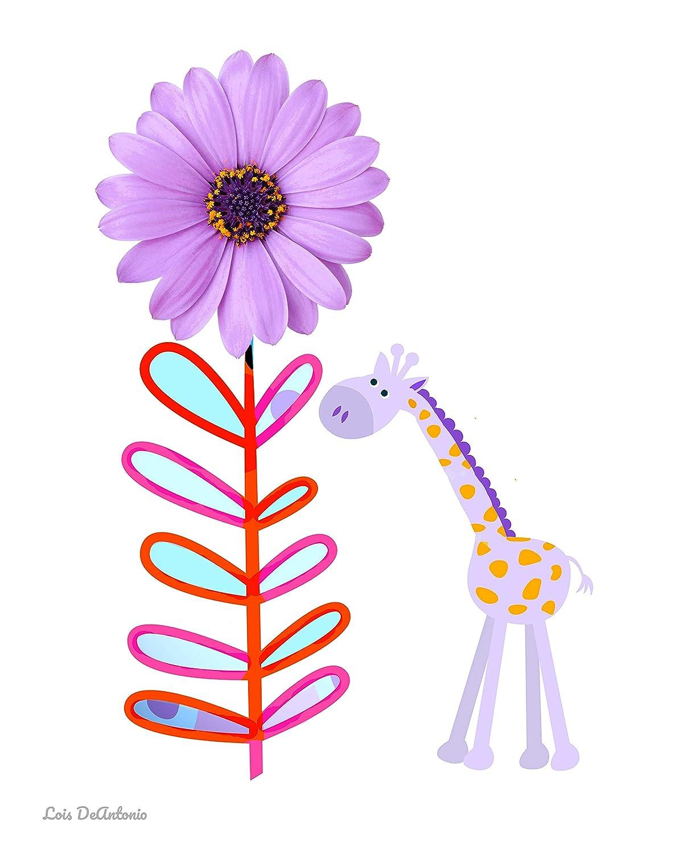 Whimsical Giraffe Art Max 89% OFF Print Children's art decor Max 86% OFF Pop Flower wall
