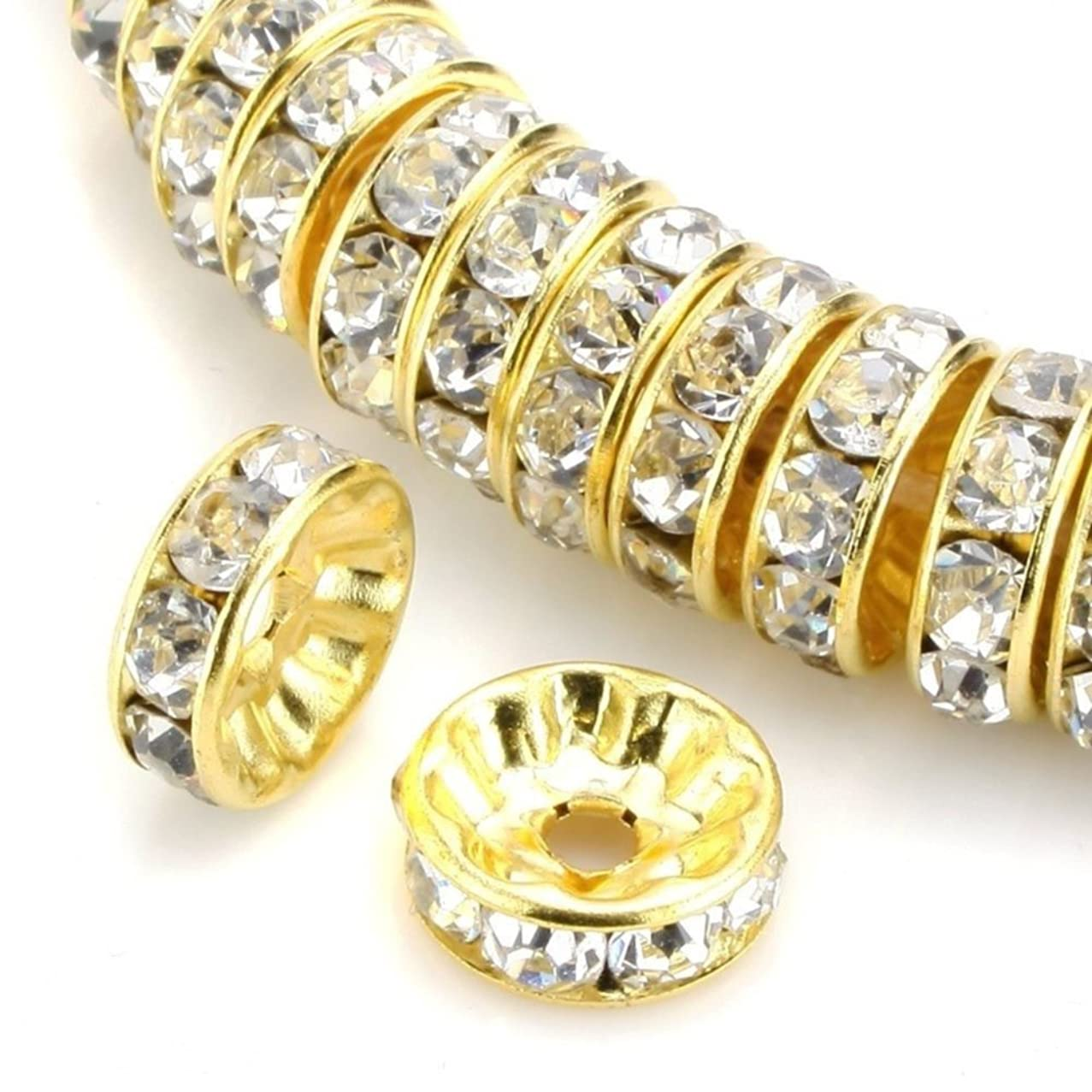 100pcs Best Quality Rondelle Spacer Beads 5mm Crystal Clear Top Quality Austrian Crystal Rhinestone 14k Gold Plated Copper Brass CF4-501