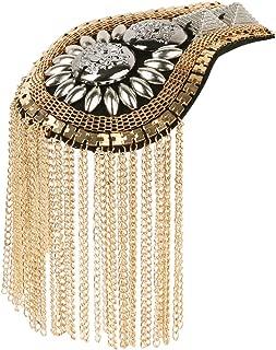 iiniim 2Pcs Fashion Fringe Shoulder Pieces Tassel Link Chain Epaulet Shoulder Boards Badge Uniform Accessories for Women Men
