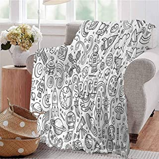 CRANELIN Digital Printing Blanket Astro Sketch Abstract Planets in Doodle Drawing Style Childrens Cartoon Composition Black White Bedroom Dorm Sofa Baby Cot Beach W57 xL74