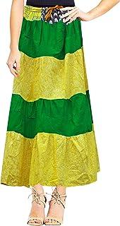 Peegli Gonna Lunga da Donna Gialla Indiana Abbigliamento Casual in Cotone Floreale con Cuciture Cucite