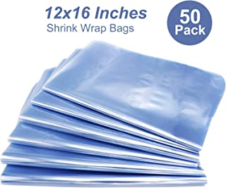 Shrink Wrap Bags,12x16 Inches PVC Heat Seal Shrink Bags for Soap,Book,Bath Bombs, Film DVD/CD, Giftware, Candles,Shoes,Small Baskets,Clear (50)