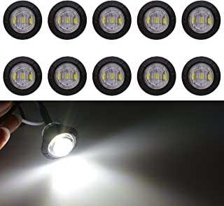 KaTur 3/4Inch Round LED Front Rear Side Marker Indicators Light Waterproof Bullet Marker Light 12V for Car Truck (White)