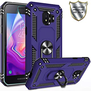 Gritup Galaxy J2 Pro 2018 Case,Galaxy Grand Prime Pro Case with HD Screen Protector, 360 Degree Rotating Metal Ring Holder Kickstand Armor Bracket Cover Phone Case for Samsung J2 Pro 2018 Purple
