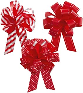 HAPPY DEALS ~ Red and White Christmas Pull Bows - 18 pc