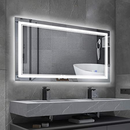 Hamilton Hills Lighted Led Frameless Backlit Wall Mirror Polished Edge Silver Backed Illuminated 2 Frosted Line Horizontal Mirrored Plate Commercial Vanity Or Bathroom Hanging Rectangle 42 W X 28 H Kitchen Dining