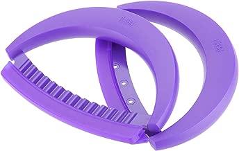 Kuhn Rikon 2-Piece Crinkle Cutter and Mezzaluna Nonstick Knife Set, Purple