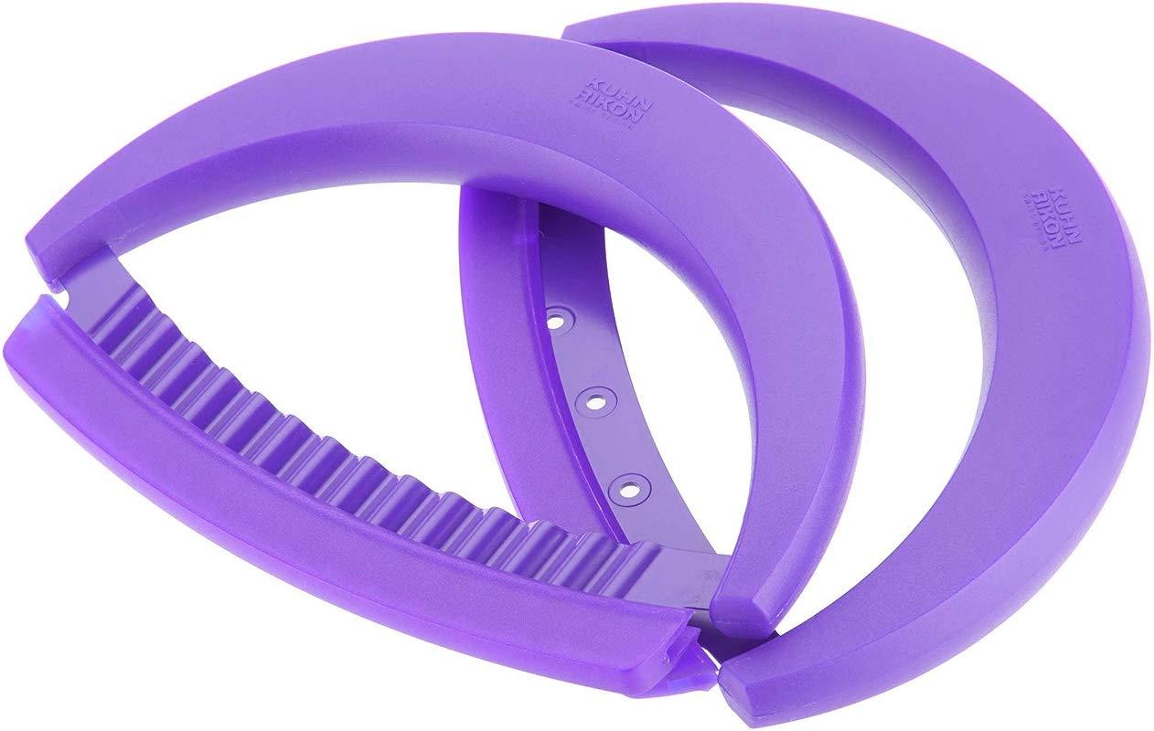 Kuhn Rikon 2 Piece Crinkle Cutter And Mezzaluna Nonstick Knife Set Purple