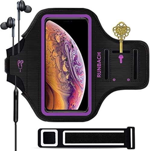 iPhone 11 Pro Max/12 Pro Max/iPhone Xs Max Armband,RUNBACH Sweatproof Running Exercise Bag with Fingerprint Touch and...