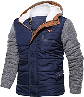 LUCAMORE Men's Casual Patchwork Hooed Hoodies Thick Wool Warm Winter Jacket Coats
