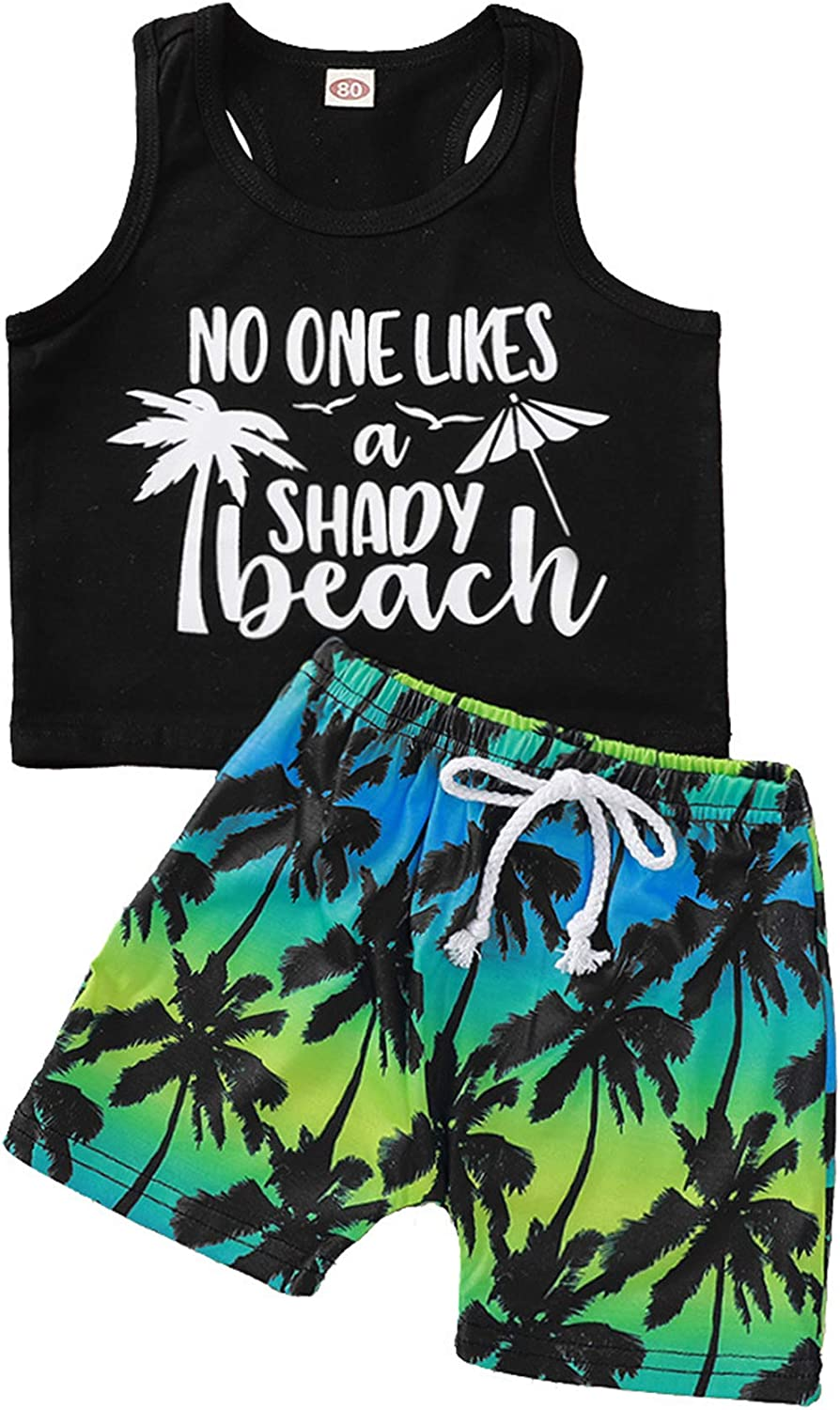 2Pcs Baby Boys Summer Clothes No One Likes A Shady Beach Sleeveless Tank Tops Shirt + Shorts Toddler Kids Casual Outfit