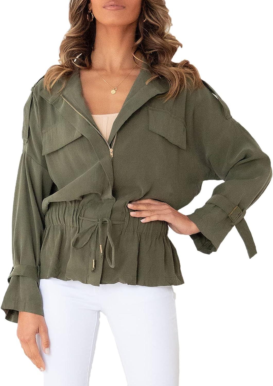 shipfree Dellytop Women's Military Safari Jackets Lightweight Util 40% OFF Cheap Sale Up Zip