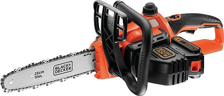 Elettrosega a batteria litio 18v-2.0 ah, barra 25 cm black&decker gkc1825l20-qw