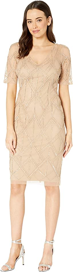 2eaccd16 Adrianna Papell. Boat Neck Cape Sheath Dress. $56.62MSRP: $149.00. Champagne