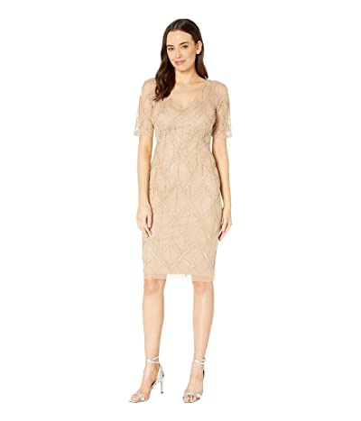 Adrianna Papell Beaded Sheath Cocktail Dress (Champagne) Women