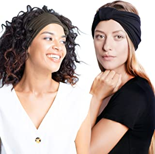 "BLOM Original Headband Two Pack. 6"" Multi Style Design for Yoga Workout Running Athletic. Wear Wide Turban Knotted. Ethica..."