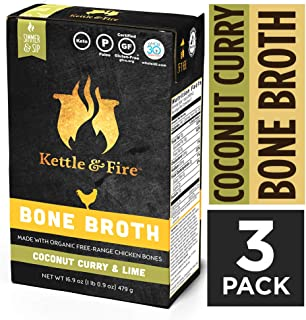 Coconut Curry & Lime Chicken Bone Broth by Kettle and Fire, Pack of 3, Keto Diet, Paleo Friendly, Whole 30 Approved, Gluten Free, with Collagen, 1 Net Carb, 12g of protein, 16.9 fl oz