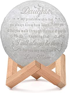 ZJFHTD Customized Personalized 3D Moon Lamp USB Rechargeable Nightlight LED Light Lamp Engraved Desk Lamp Gift for Kids Wife girlfriend-C15 (My Great Wish from mom, 5.9 inch,15cm)