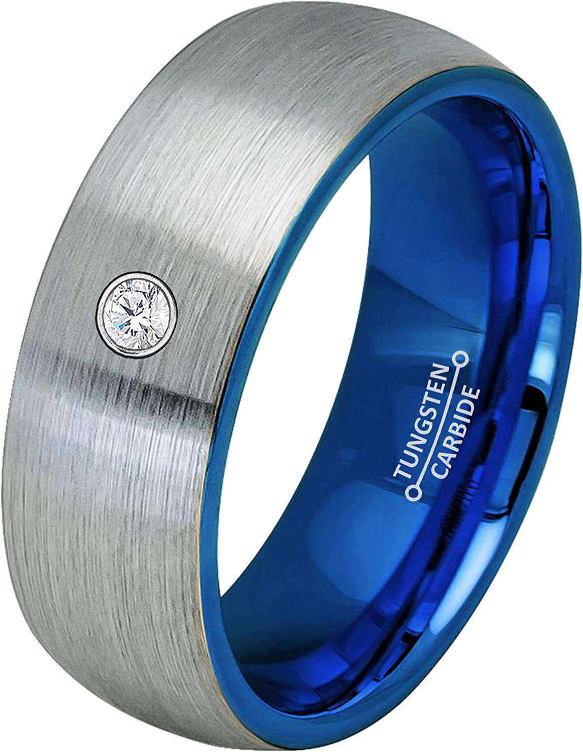 0.07ct Diamond Regular dealer Tungsten Ring - Two-T Birthstone Dome 8MM Max 59% OFF April