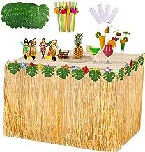 VSTON Falda de Mesa Hawaiana Fiesta Decoraciones de Luau Tropical con Hojas de Palmera Flores Tropicales 9 pies Falda de Mesa Hawaiana Paja de Fruta para Barbacoa Jardín Suministros para Fiestas