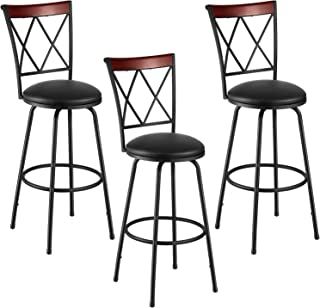 kealive Bar Stools Set of 3 Modern Style Swivel Height Adjustable Counter Chair PU Leather, Dining Room Kitchen Counter with Backrest and Footrest, Black