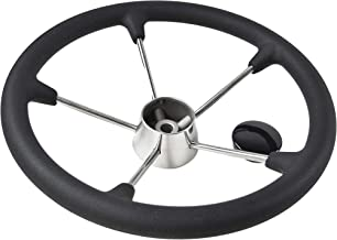 Marine City 15-1/2 Inches Boat Stainless Steel Steering Wheel with Black Foam Grip (Diameter: 15-1/2 Inches)