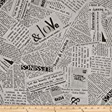 Windham Quilt Fabrics 'Story 108in Wide Quilt Back News Print Black And White' Quilt Fabric, Black/White