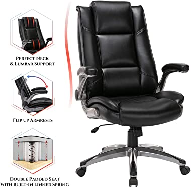 Office Chair High Back Leather Executive Computer Desk Chair - Flip-up Arms and Adjustable Tilt Angle Swivel Chair Thick Padd
