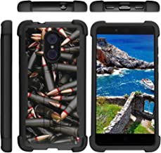TurtleArmor | Compatible with ZTE Imperial Max Case | Max Duo | Grand X Max 2 [Grip Combat] Impact Shockproof Duo Resistant Armor Kickstand Defender Case Military War Camo - Black Bullets