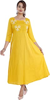 Cottonwalas Women's Rayon Embroidered Anarkali Kurtis (Yellow)