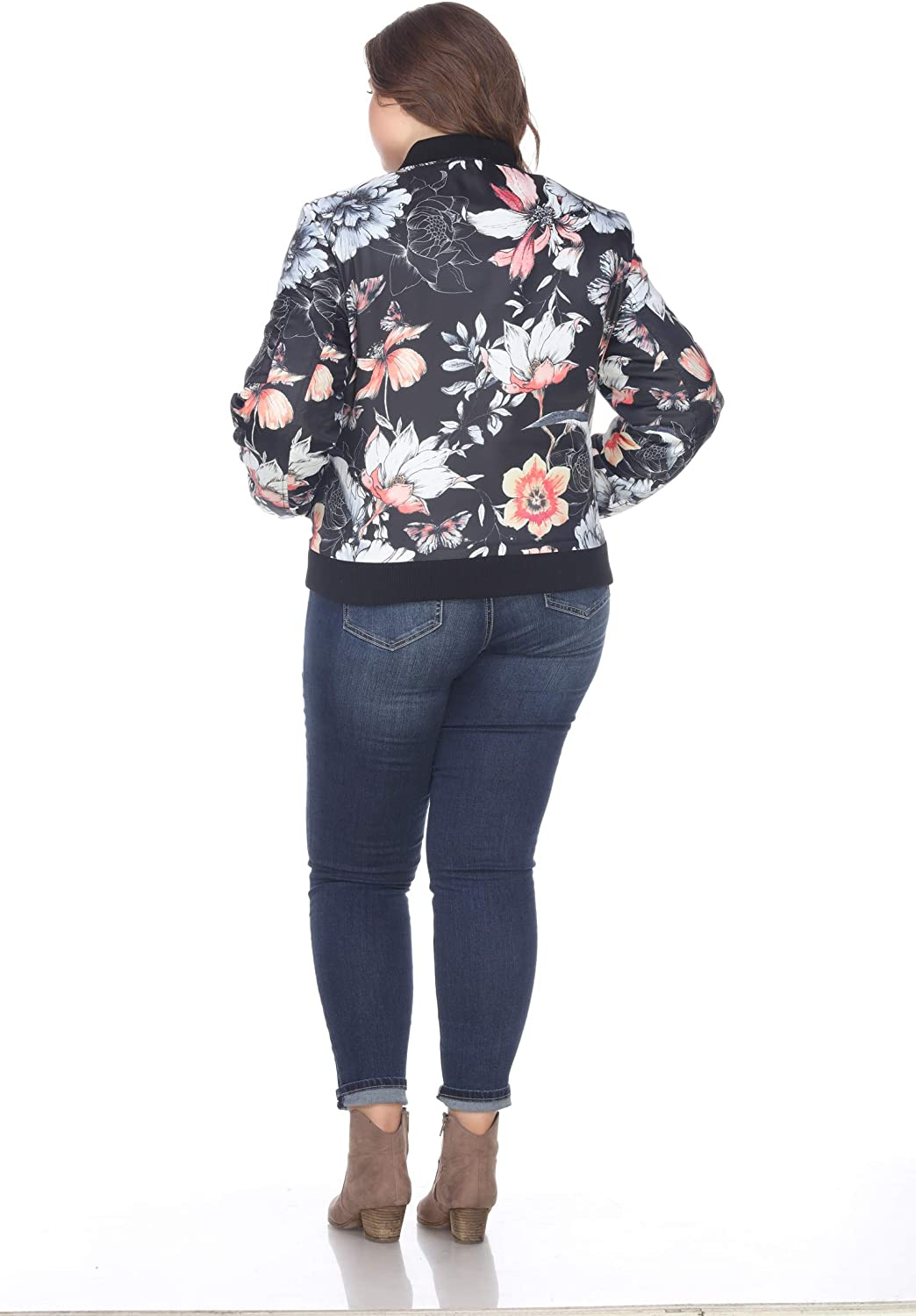 Women's Plus Size Classic Bomber Jacket with Zipper and Design