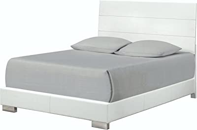 A Line Furniture Mid Century Modern Designe White Upholstered Bed California King