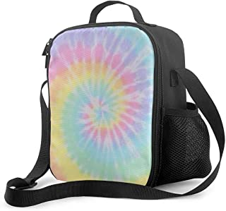 Pastel Tie Dye Insulated Lunch Box Bag Portable Lunch Tote For Women Men And Kids