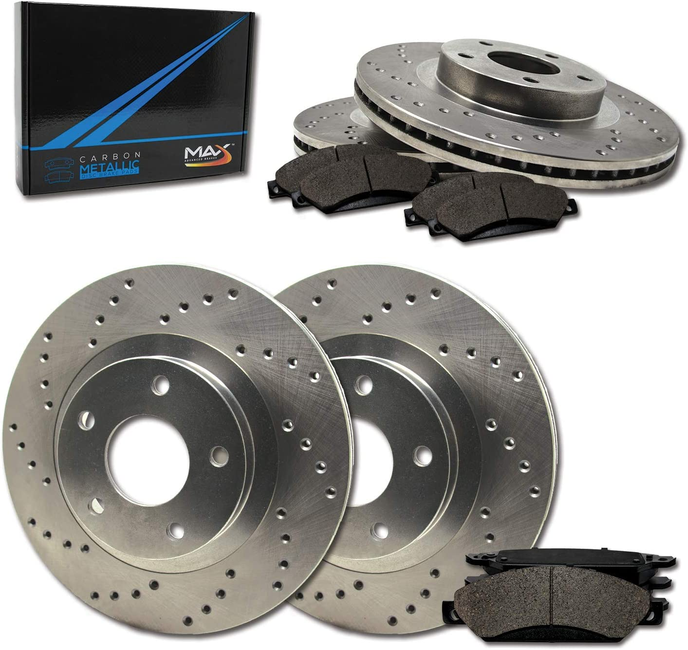 Front + Rear Max Brakes Premium Carbon XD Rotors Free shipping Dallas Mall Metallic with