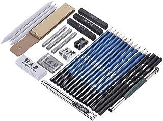 Aibecy 32点セット スケッチ鉛筆 鉛筆セット 紙ペン 消しゴム 黒鉛と炭の鉛筆 キャリングバッグ付き 初心者のスケッチスーツ 文房具