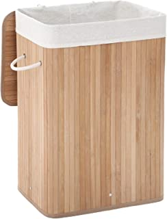 SONGMICS Panier à linge en bambou, Corbeille à linge, 72L, Pliable, avec Sac amovible et lavable, Buanderie, Couleur natur...
