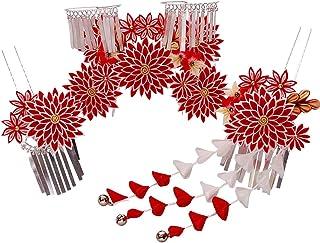七五三髪飾り かんざし 赤 レッド つまみ細工[ 子供 着物 和装 花簪 正月 7歳 753]