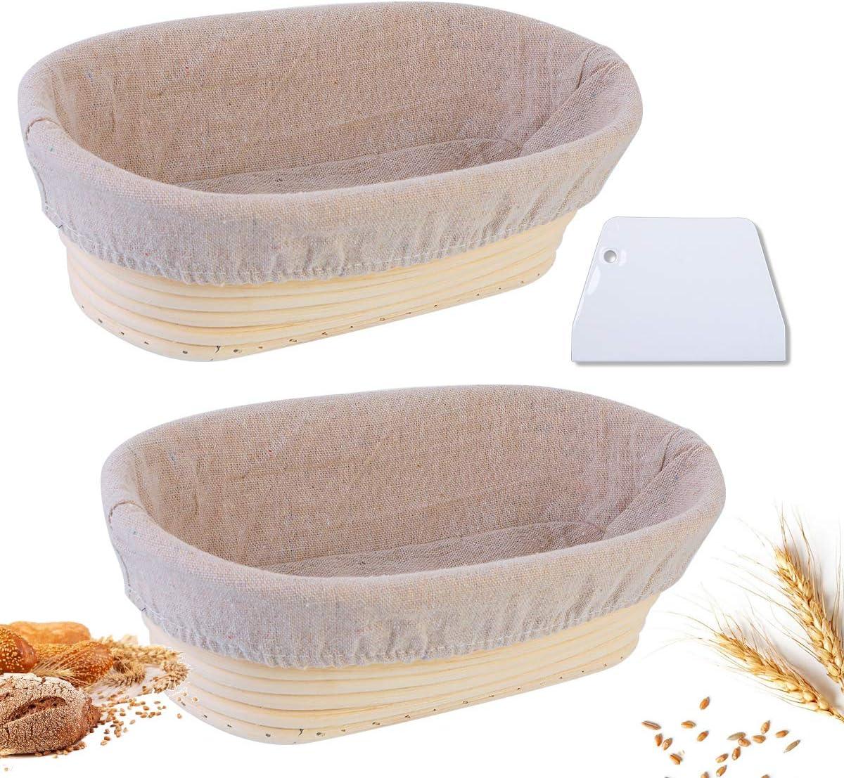 Set of 2 Bread Proofing Basket Brotform Banneton Proofing Basket with Linen Liner Cloth /& Dough Scraper for Home Baker Bread Banneton Proofing Baskets