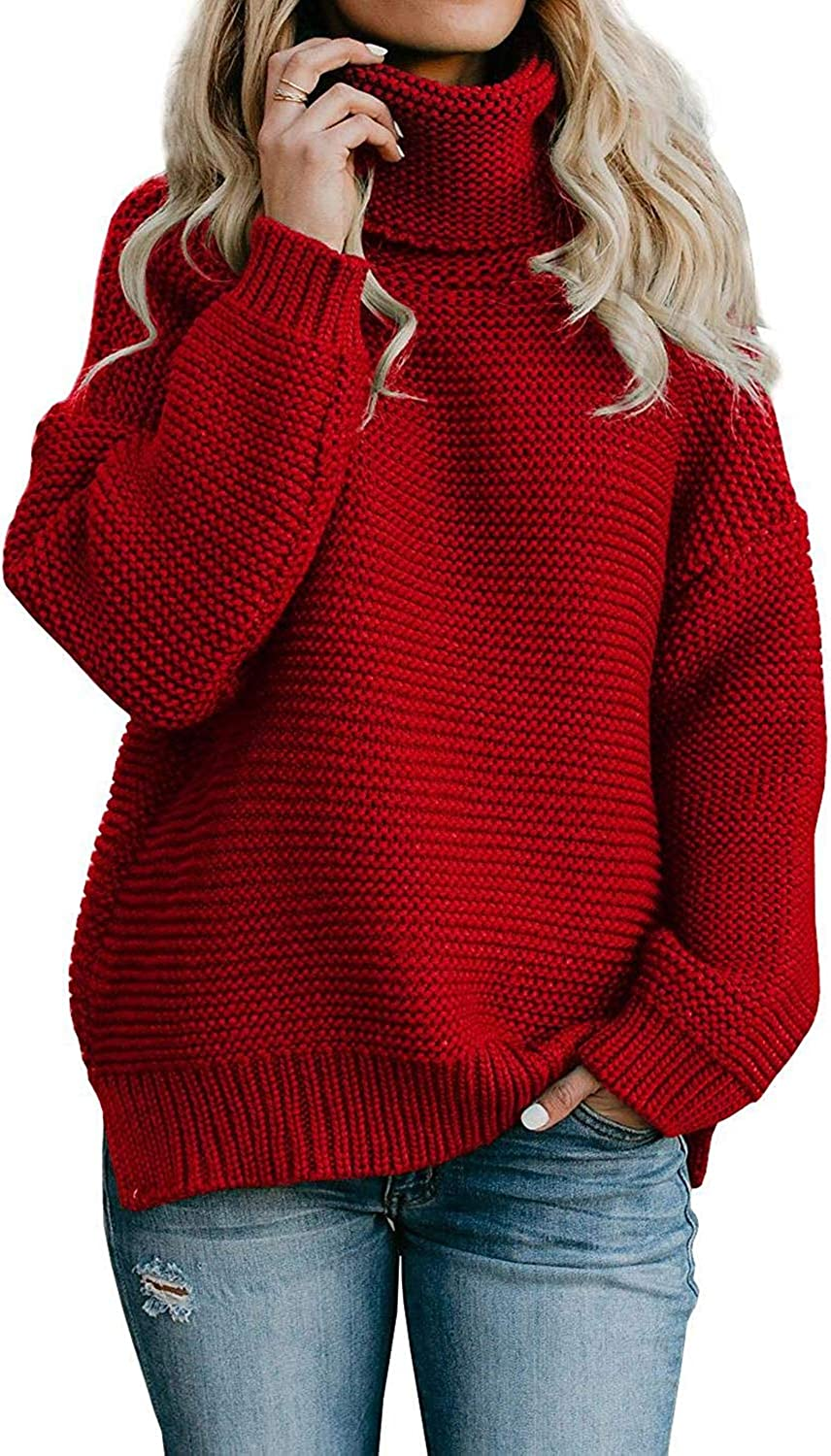 QACOHU Womens Chunky Turtleneck Sweater Long Sleeve Knit Pullover Sweaters Tops