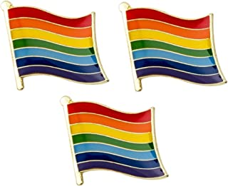 Paquete de 3 x Insignias de Pines con la Bandera LGBT del Orgullo Gay del Arco Iris 19 mm x 15 mm