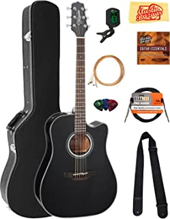 Takamine GD30CE Dreadnought Cutaway Acoustic-Electric Guitar - Black Bundle with Hard Case, Cable, Tuner, Strap, Strings, Picks, Austin Bazaar Instructional DVD, and Polishing Cloth