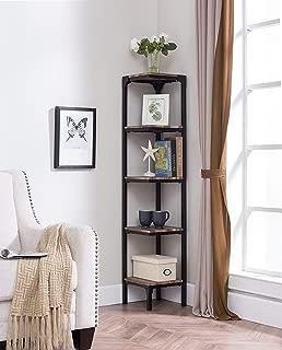 eHomeProducts Reclaimed Weathered Oak Finish Black Metal Wall Corner 5-Tier Bookshelf Bookcase Accent Display Shelf