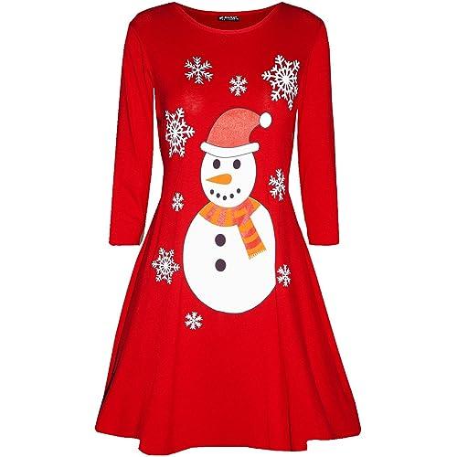 6ee2e4e2944 Womens Long Sleeve Snowman Reindeer Santa Face Christmas Swing Mini Dress