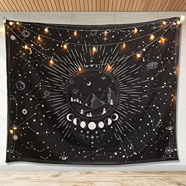 DREAMPASS Wall Tapestry black and white Tapestry for Bedroom Aesthetic Sun Moon Wall Hanging Stars Space Tapestries Home Wall