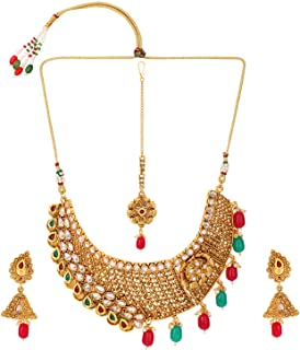 Indian Bollywood Traditional White Red Green Rhinestone Faux Ruby Emerald Heavy Bridal Designer Jewelry Choker Necklace Set for Women and Girls